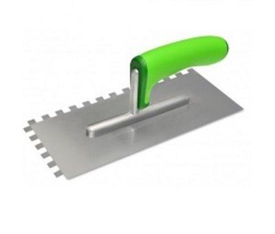 Гладилка нержавеющая с эргономичной ручкой, зуб 8 х 8 мм, 120 х 280 мм.