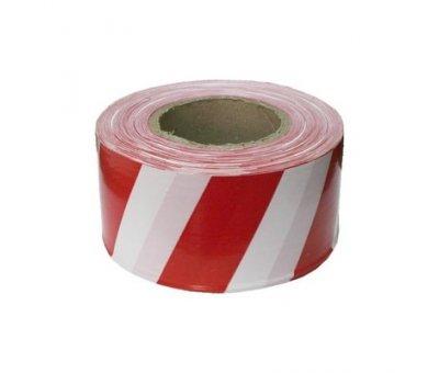 Лента сигнальная красно-белая, 80 мм х 100 м.