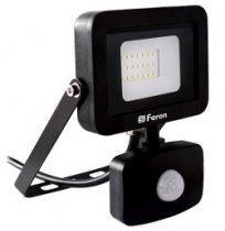 Прожектор 20W 6400K IP44 Feron черный с датчиком движения